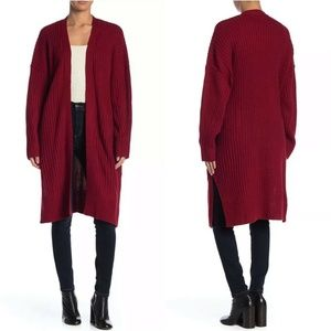 Lush Red Long Sleeve Ribbed Duster Cardigan